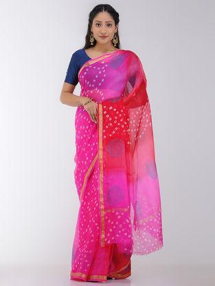 Pink-Red Ombre-dyed and Bandhani Kota Silk Saree with Zari Border