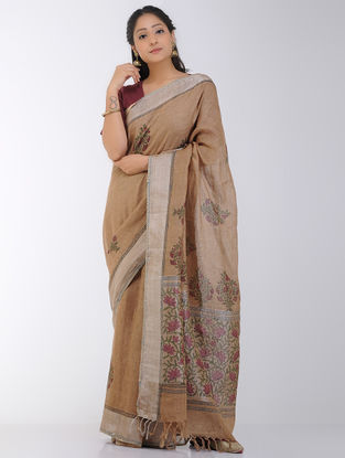 Brown-Maroon Block-printed Linen Saree with Zari Border