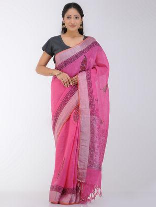Pink-Orange Block-printed Linen Saree with Zari