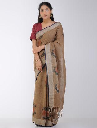 Brown-Rust Block-printed Linen Saree with Zari