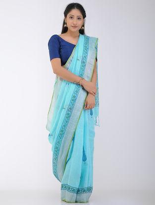 Blue-Green Block-printed Linen Saree with Zari Border