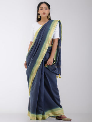 Blue-Yellow Tie and Dye Chanderi Saree with Tassels and Zari Border