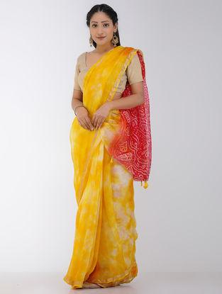 Yellow-Red Marble-dyed Kota Silk Saree with Zari Border and Bandhani Pallu