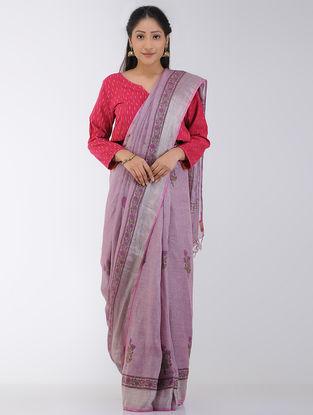 Pink-Green Block-printed Linen Saree with Zari Border