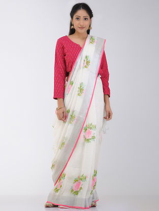 White-Pink Block-printed Linen Saree with Zari Border