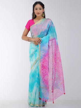Blue-Pink Marble-dyed Kota Silk Saree with Zari Border and Bandhani Pallu
