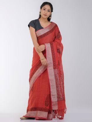 Red-Black Block-printed Linen Saree with Zari Border