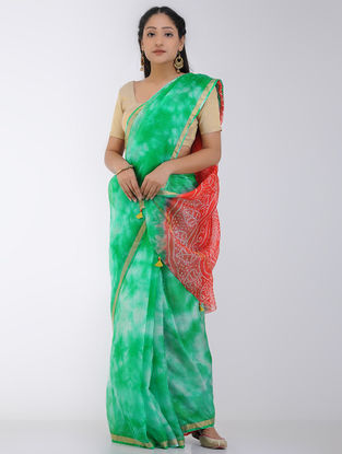 Green-Red Marble-dyed Kota Silk Saree with Zari Border and Bandhani Pallu
