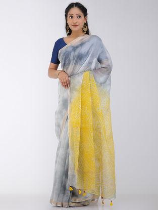 Grey-Yellow Marble-dyed Kota Silk Saree with Zari Border and Bandhani Pallu