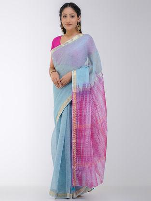 Blue-Pink Shibori-dyed Kota Silk Saree with Tassels and Zari Border