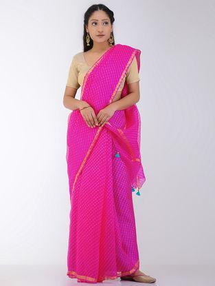 Pink Leheriya Kota Silk Saree with Tassels and Zari Border
