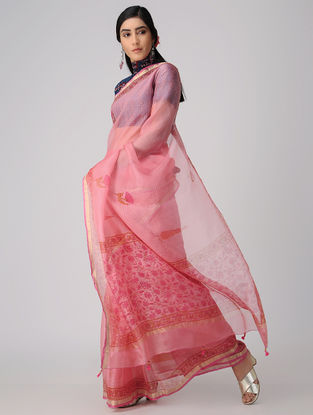 Pink Block-printed Kota Silk Saree with Mukaish and Zari Border