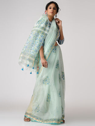 Ivory-Blue Block-printed Kota Silk Saree with Mukaish and Zari Border
