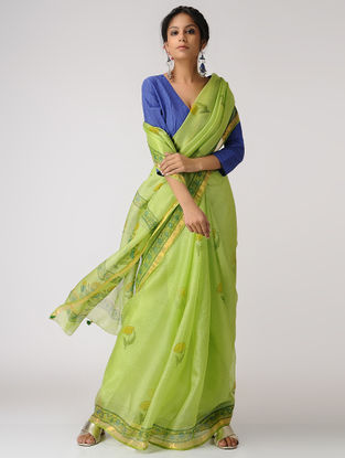 Green-Blue Block-printed Kota Silk Saree with Mukaish and Zari Border
