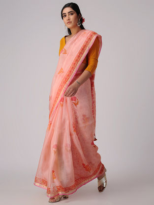 Pink-Orange Block-printed Kota Silk Saree with Mukaish and Zari Border