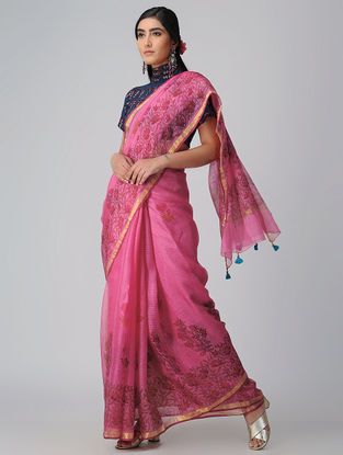 Pink-Red Block-printed Kota Silk Saree with Mukaish and Zari Border