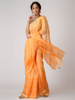 Peach-Yellow Block-printed Kota Silk Saree with Mukaish and Zari Border