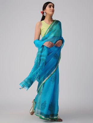 Blue-Green Block-printed Kota Silk Saree with Mukaish and Zari Border