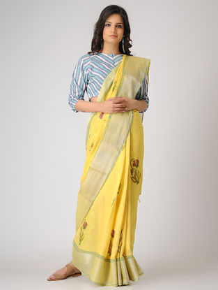 Yellow-Green Block-printed Khadi Cotton Saree with Zari Border