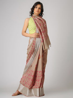 Beige-Pink Block-printed Khadi Cotton Saree with Zari Border