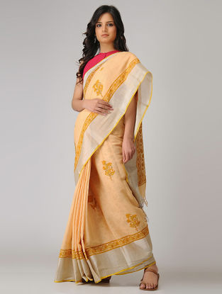 Beige-Green Block-printed Khadi Cotton Saree with Zari Border