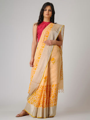 Peach-Yellow Block-printed Khadi Cotton Saree with Zari Border