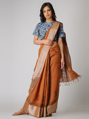 Rust Block-printed Khadi Cotton Saree with Zari Border