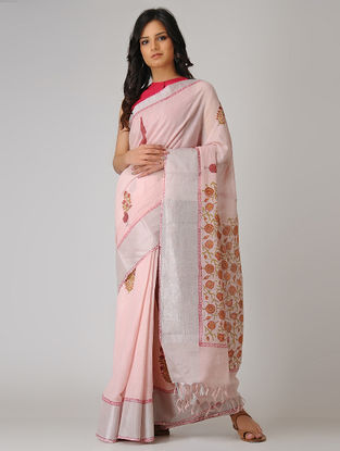Pink-Red Block-printed Khadi Cotton Saree with Zari Border