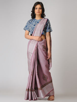 Purple-Green Block-printed Khadi Cotton Saree with Zari Border