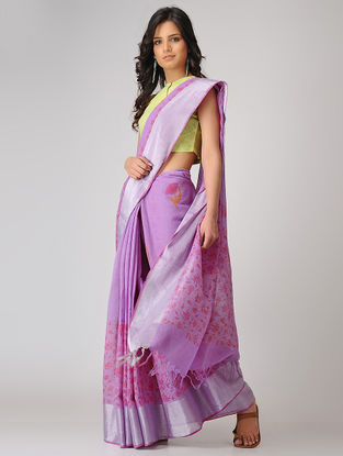 Purple-Pink Block-printed Khadi Cotton Saree with Zari Border