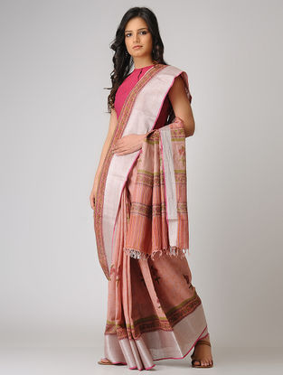 Peach-Green Block-printed Khadi Cotton Saree with Zari Border