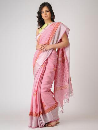 Pink-Green Block-printed Khadi Cotton Saree with Zari Border