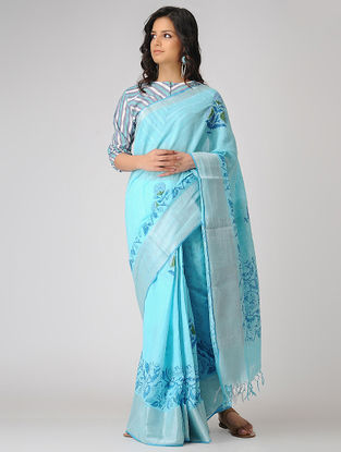 Blue Block-printed Khadi Cotton Saree with Zari Border
