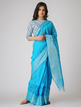 Blue-Green Block-printed Khadi Cotton Saree with Zari Border
