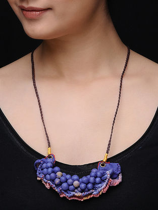 Pink-Purple Cotton Beaded Necklace