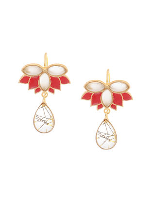 Rutile Drop Enameled Gold-plated Earrings