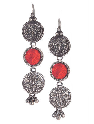 Red Glass Silver Earrings with Floral Motif