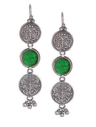 Green Glass Silver Earrings with Floral Motif
