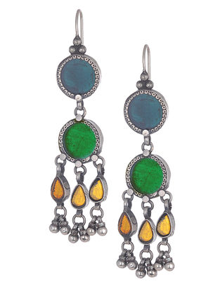 Blue-Green Glass Silver Earrings