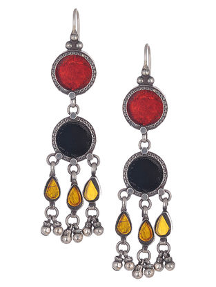 Red-Blue Glass Silver Earrings