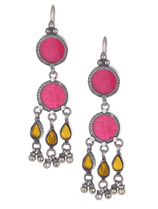 Pink-Yellow Glass Silver Earrings