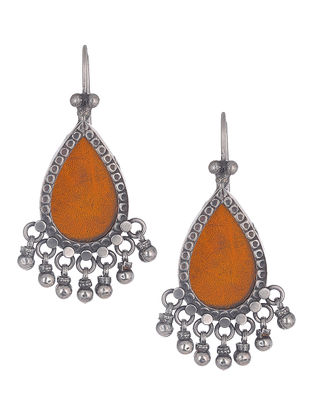 Orange Glass Silver Earrings