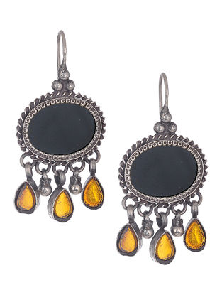 Black-Yellow Silver Earrings