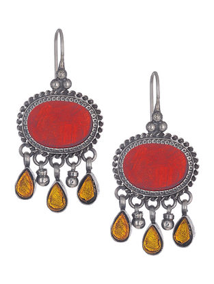 Red-Yellow Silver Earrings