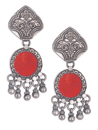 Red Silver Earrings with Floral Motif