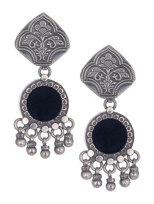 Black Silver Earrings with Floral Motif