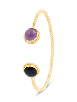Gold-plated Brass Cuff with Black Onyx and Amethyst