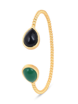 Gold-plated Brass Cuff with Green and Black Onyx