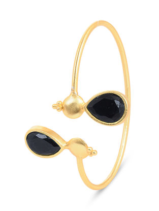 Gold-plated Brass Cuff with Black Onyx