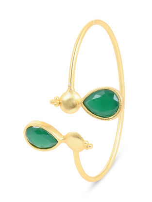 Gold-plated Brass Cuff with Green Onyx
